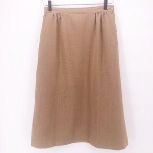 Vintage Camel Color Pleated Lightweight Midi Skirt